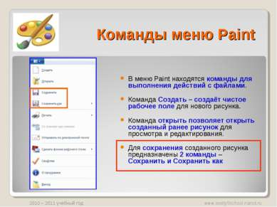Команды меню Paint В меню Paint находятся команды для выполнения действий с ф...