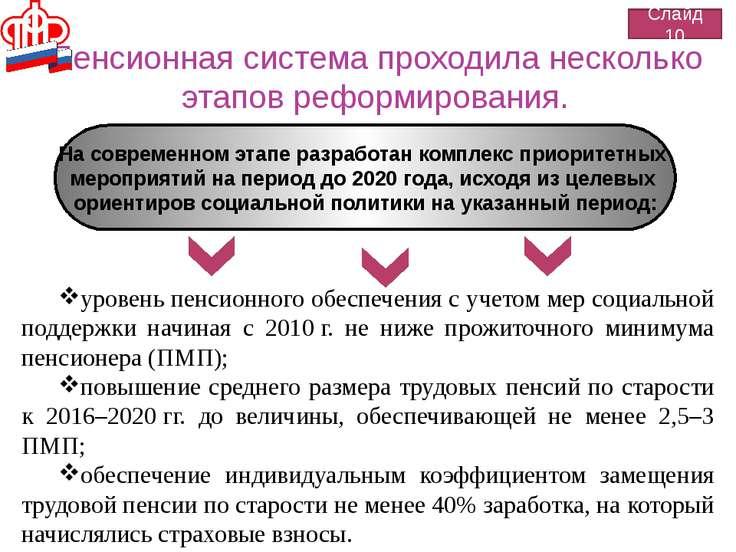 Пенсионная система проходила несколько этапов реформирования. Слайд 10 На сов...