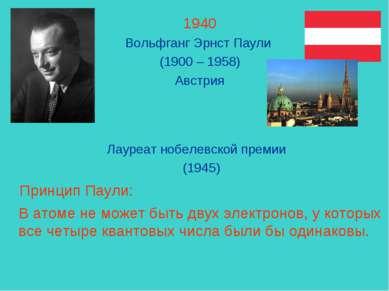 1940 Вольфганг Эрнст Паули (1900 – 1958) Австрия Лауреат нобелевской премии (...