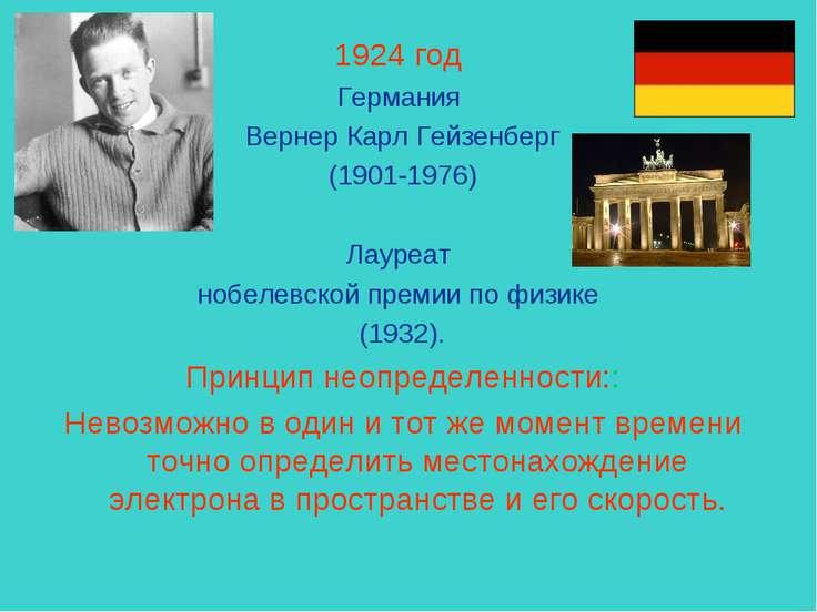 1924 год Германия Вернер Карл Гейзенберг (1901-1976) Лауреат нобелевской прем...