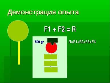 Демонстрация опыта F1 + F2 = R 500 gr R=F1+F2+F3+F4