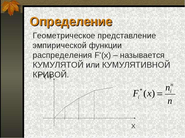 Определение Геометрическое представление эмпирической функции распределения F...