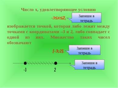 Число х, удовлетворяющее условию -3≤х≤2, изображается точкой, которая либо ле...