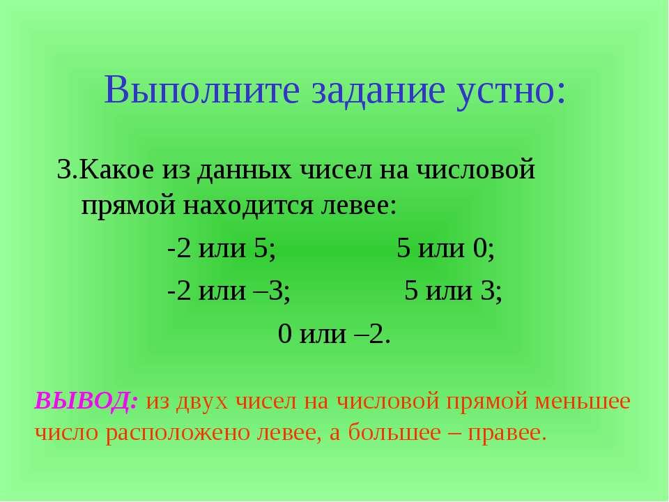 Выполните задание устно: 3.Какое из данных чисел на числовой прямой находится...