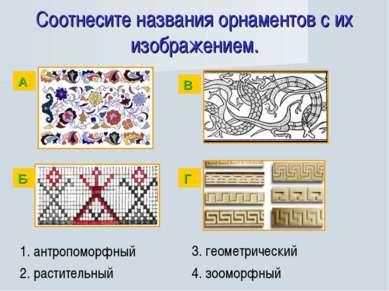 Соотнесите названия орнаментов с их изображением. 1. антропоморфный 2. растит...
