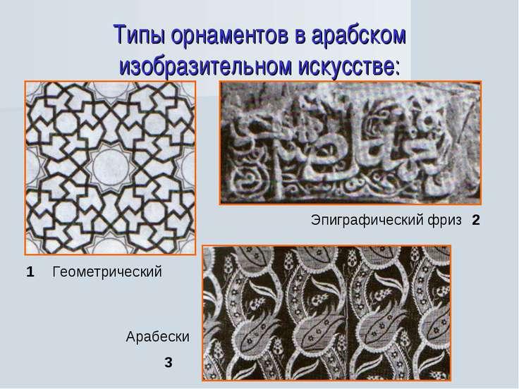 Типы орнаментов в арабском изобразительном искусстве: 1 2 3 Арабески Эпиграфи...