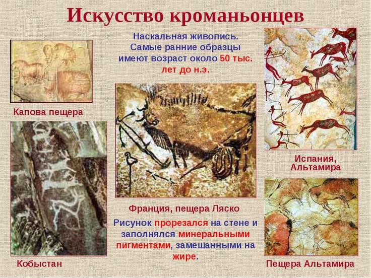 Искусство кроманьонцев Испания, Альтамира Пещера Альтамира Франция, пещера Ля...