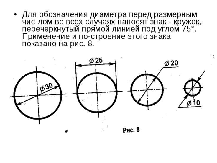 Для обозначения диаметра перед размерным чис лом во всех случаях наносят знак...