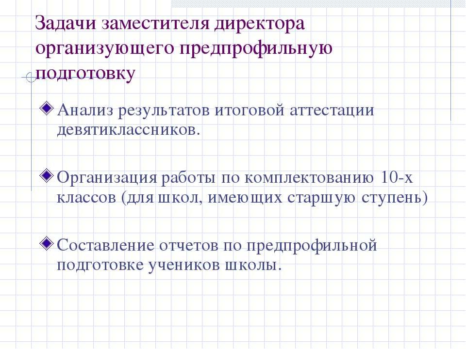 Задачи заместителя директора организующего предпрофильную подготовку Анализ р...