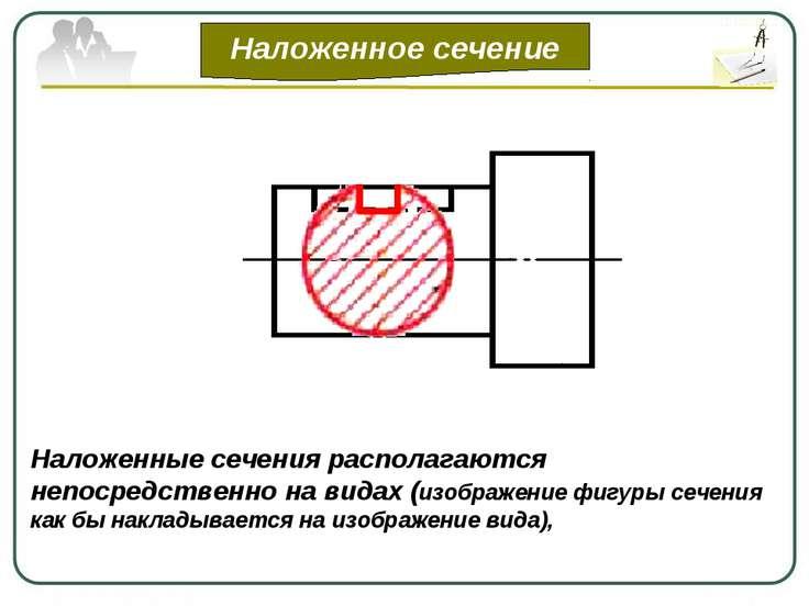 Наложенное сечение Наложенные сечения располагаются непосредственно на видах ...