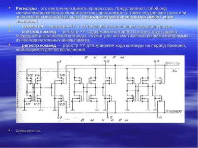 Регистры - это внутренняя память процессора. Представляют собой ряд специализ...