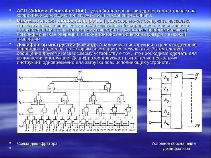 AGU (Address Generation Unit) - устройство генерации адресов (оно отвечает за...