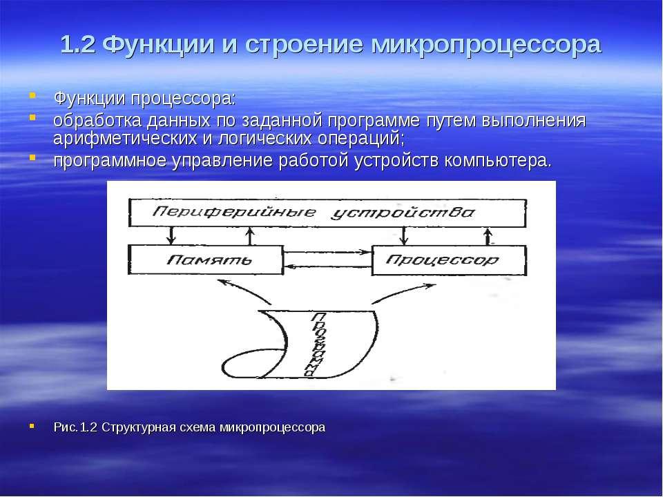 1.2 Функции и строение микропроцессора Функции процессора: обработка данных п...