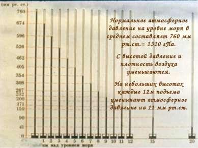 Нормальное атмосферное давление на уровне моря в среднем составляет 760 мм рт...