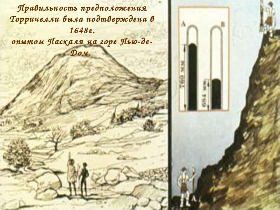 Правильность предположения Торричелли была подтверждена в 1648г. опытом Паска...