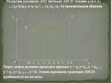 Разделим основание [АD] трапеции ABCD точками х0=а;х1;х2;…; хn= b (x0= a