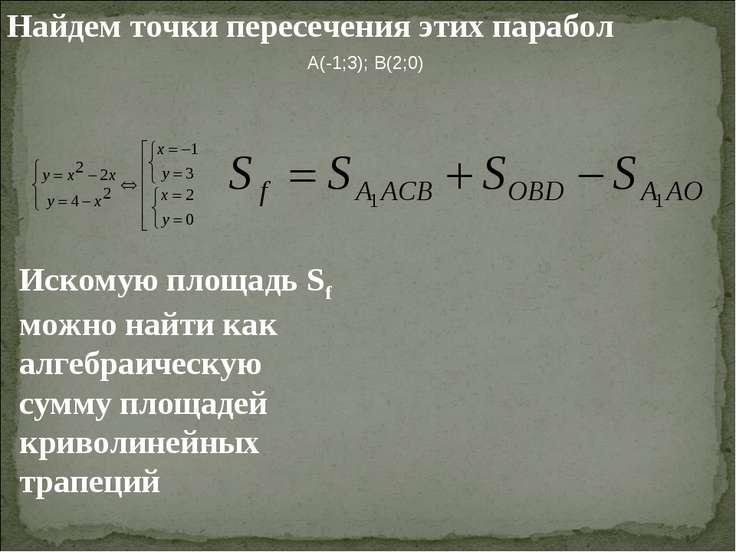 Найдем точки пересечения этих парабол A(-1;3); B(2;0) Искомую площадь Sf можн...
