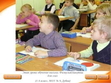 Этап урока обучение письму. Физкультминутка для глаз (1 А класс, МОУ № 9, Дуб...