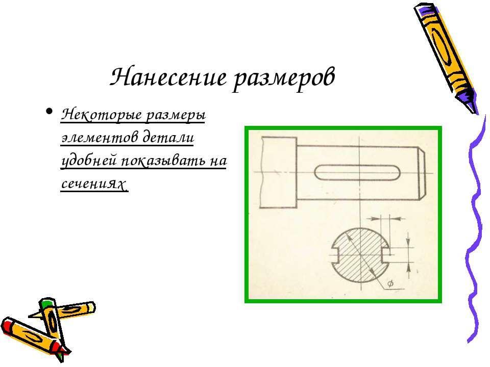 Нанесение размеров Некоторые размеры элементов детали удобней показывать на с...