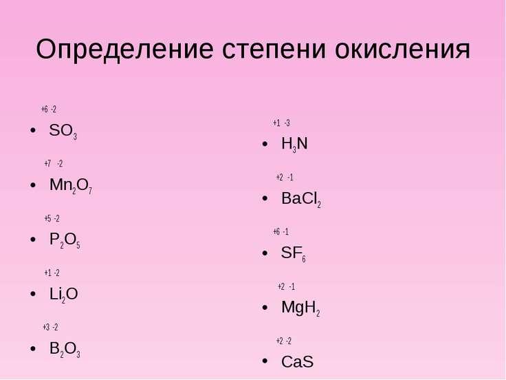 Определение степени окисления +6 -2 SO3 +7 -2 Mn2O7 +5 -2 P2O5 +1 -2 Li2O +3 ...