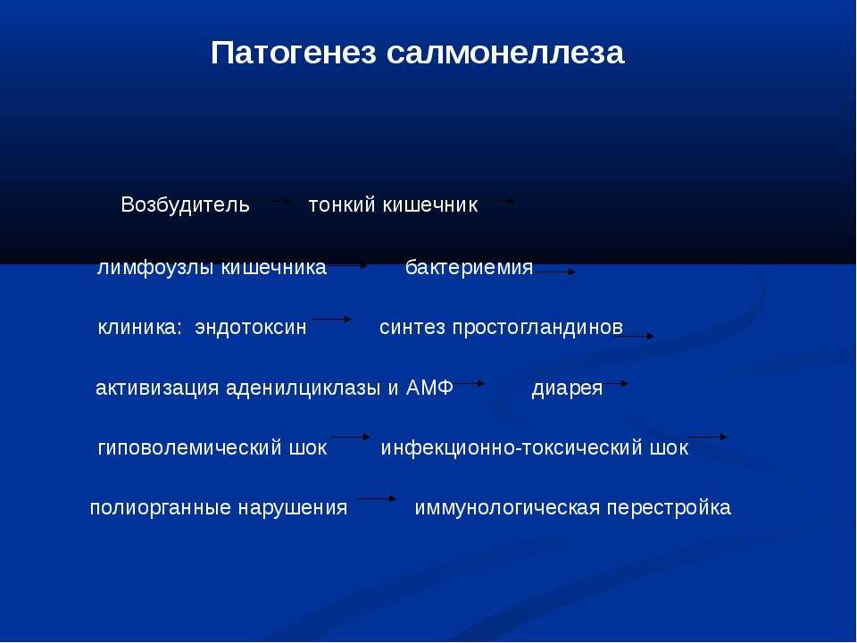 Патогенез салмонеллеза Возбудитель тонкий кишечник лимфоузлы кишечника бактер...