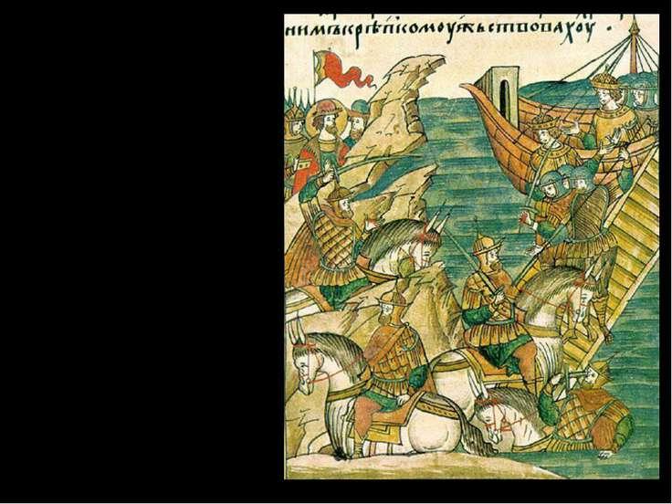 Гаврила Олексич – по сходням взобрался на коне на корабль, был сброшен, снова...