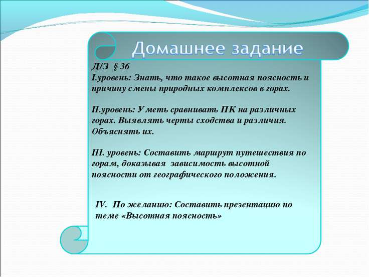 IV. По желанию: Составить презентацию по теме «Высотная поясность»