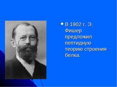 В 1902 г. Э. Фишер предложил пептидную теорию строения белка.