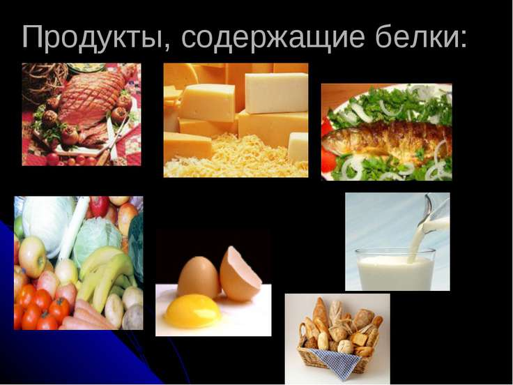 Продукты, содержащие белки: