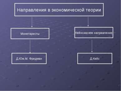 Направления в экономической теории Монетаристы Кейнсиаское направление Д.Юм,М...