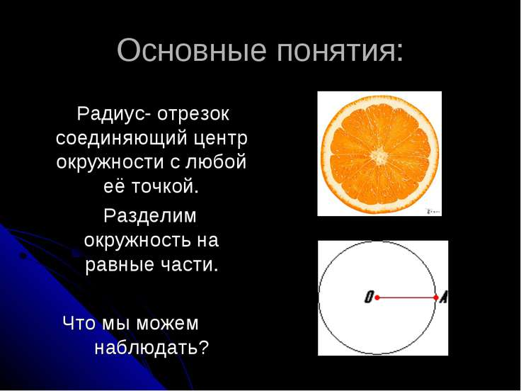 Основные понятия: Радиус- отрезок соединяющий центр окружности с любой её точ...