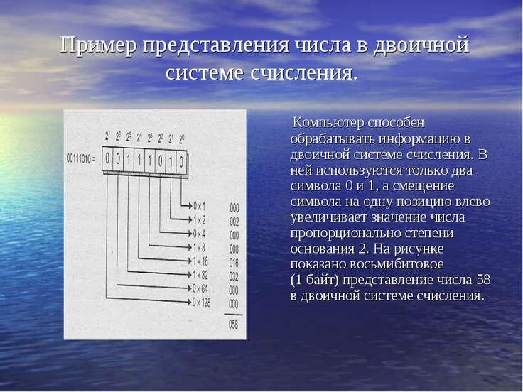 Пример представления числа в двоичной системе счисления. Компьютер способен о...