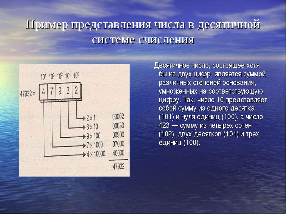 Пример представления числа в десятичной системе счисления Десятичное число, с...