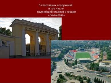 5 спортивных сооружений, в том числе крупнейший стадион в городе «Локомотив»