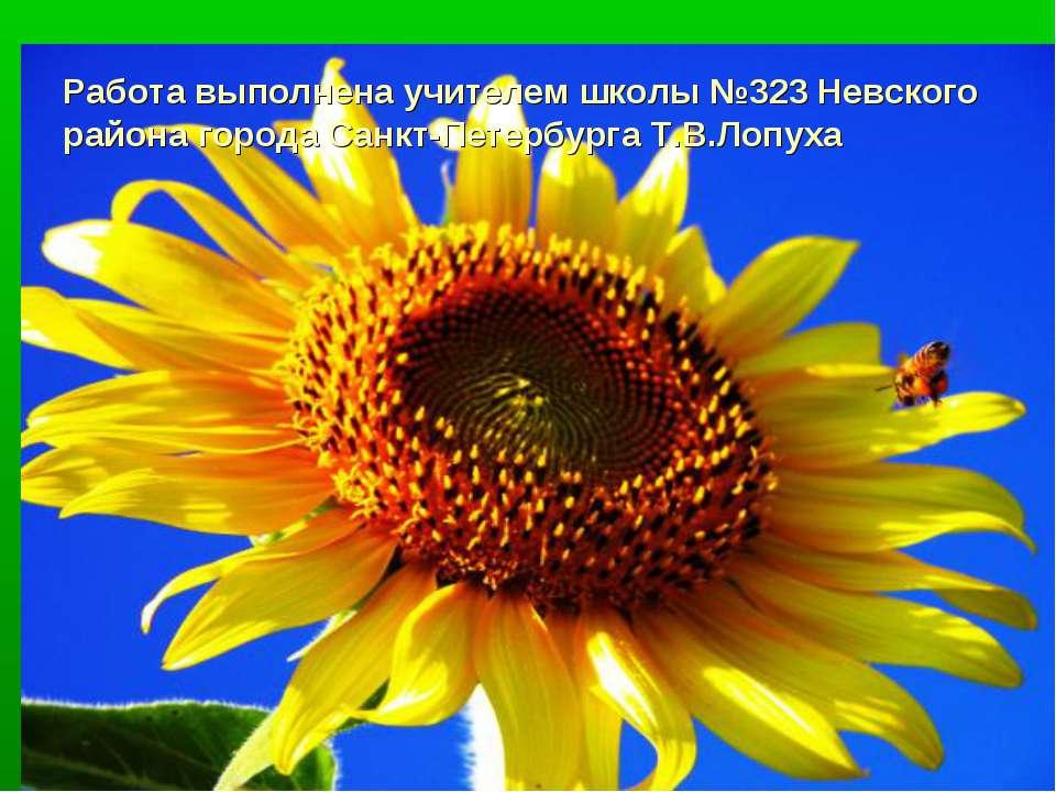Работа выполнена учителем школы №323 Невского района города Санкт-Петербурга ...