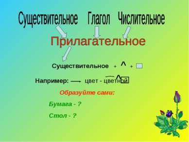 Существительное + ^ + Например: цвет - цветной ^ Образуйте сами: Бумага - ? С...