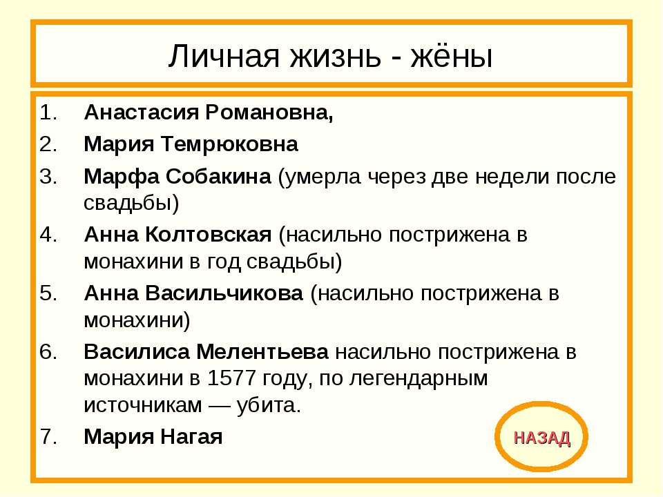 Личная жизнь - жёны 1. Анастасия Романовна, 2. Мария Темрюковна 3. Марфа Соба...