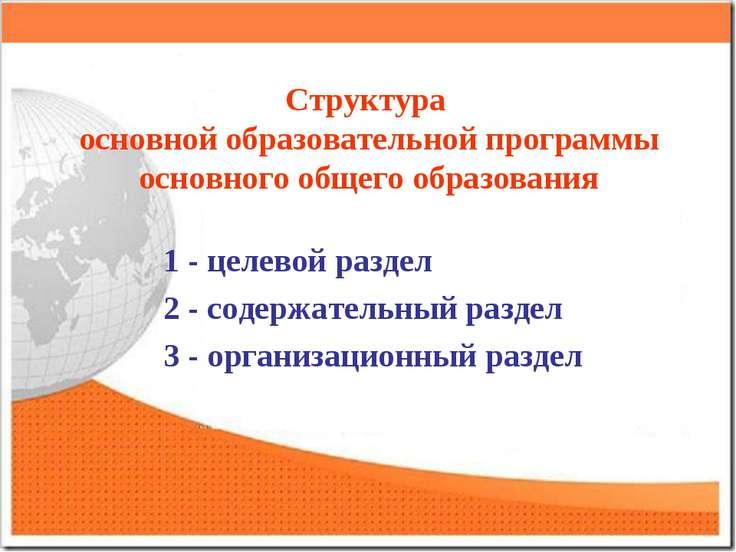 Структура основной образовательной программы основного общего образования 1 -...