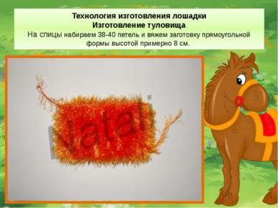 Технология изготовления лошадки Изготовление туловища На спицы набираем 38-40...