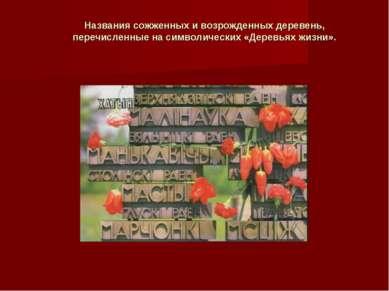 Названия сожженных и возрожденных деревень, перечисленные на символических «Д...