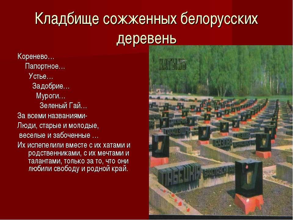 Кладбище сожженных белорусских деревень Коренево… Папортное… Устье… Задобрие…...