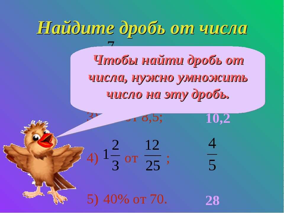 Найдите дробь от числа от 36; 0,4 от 28; 1,2 от 8,5; от ; 40% от 70. 28 11,2 ...