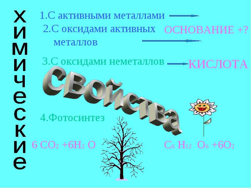 1.С активными металлами 2.С оксидами активных металлов 4.Фотосинтез 6 СО2 +6H...
