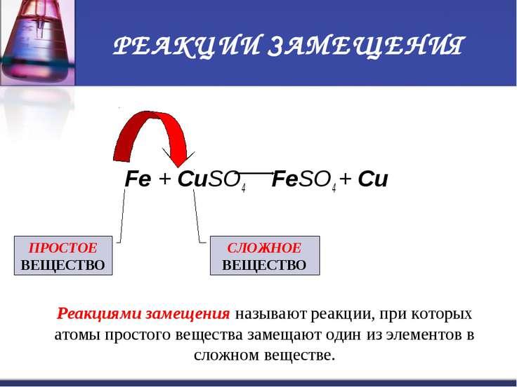 РЕАКЦИИ ЗАМЕЩЕНИЯ Fe + CuSO4 FeSO4 + Cu ПРОСТОЕ ВЕЩЕСТВО СЛОЖНОЕ ВЕЩЕСТВО Реа...