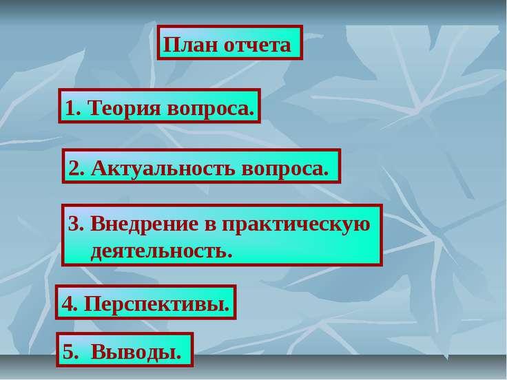 План отчета 1. Теория вопроса. 2. Актуальность вопроса. 3. Внедрение в практи...