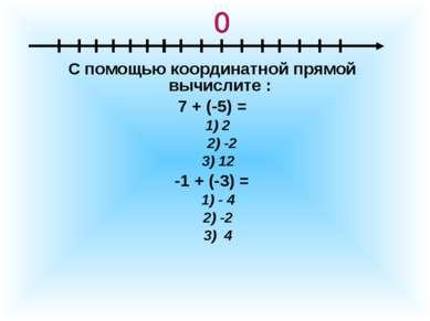 С помощью координатной прямой вычислите : 7 + (-5) = 1) 2 2) -2 3) 12 -1 + (-...