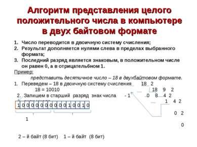 Алгоритм представления целого положительного числа в компьютере в двух байтов...