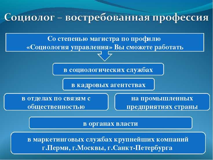 в социологических службах в органах власти в кадровых агентствах в отделах по...