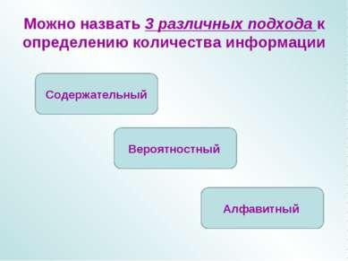 Можно назвать 3 различных подхода к определению количества информации Содержа...