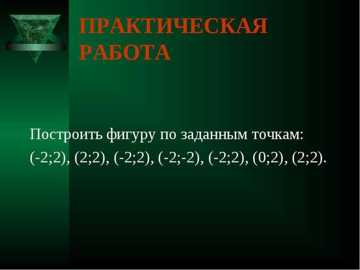 ПРАКТИЧЕСКАЯ РАБОТА Построить фигуру по заданным точкам: (-2;2), (2;2), (-2;2...